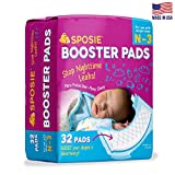 Sposie Overnight Baby Diaper Booster Pads/Doublers for Newborns to Size 3 Diapers| 32 Insert-Pads| No Adhesive, Easy Repositioning, Disposable, Nighttime Protection for Infant Boys & Girls