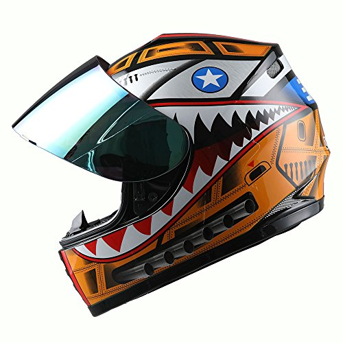 WOW Motorcycle Full Face Helmet Street Bike BMX MX Youth Kids Shark Orange