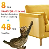 GAMURRY Anti Scratching Cat Pad, Amazing Furniture Protector from Cat Scratching, Premium Scratching Pads to Protect Your Upholstered Furniture. 8 PCS 18' L x 12' W with Twist Pins Included