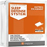 HOSPITOLOGY PRODUCTS Sleep Defense System - Zippered Mattress Encasement - Full - Hypoallergenic - Waterproof - Bed Bug & Dust Mite Proof - Stretchable - Ultra Low Profile 6' Depth - 54' W x 75' L