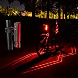 LEADBIKE USB Rechargeable Bicycle LED Taillight with Cool Refractive Leser Line and Laser Point Waterproof Rear Warning Bike Light Night Riding Safety Accessories