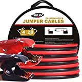 TOPDC 100% Copper Jumper Cables 4 Gauge 20 Feet 300AMP Heavy Duty Booster Cables with Carry Bag and Safety Gloves (4AWG x 20Ft)