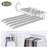 WAOU Hangers Multi-Layer Hanging Pants.5 in 1 Pants Rack Stainless Steel Pants Hangers Folding Storage Rack Space Saver Storage for Trousers Scarf Tie Belt Adjustable(2 Pack)
