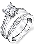 Sterling Silver Princess Cut Bridal Set Engagement Wedding Ring Bands With Cubic Zirconia Size 8