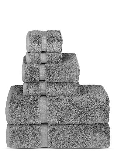 Luxury Spa and Hotel Quality Premium Turkish 6-Piece Towel Set (Gray, 2 x Bath Towels, 2 x Hand Towels, 2 x Washcloths)