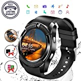 Smart Watch,Bluetooth Smartwatch Touch Screen Wrist Watch with Camera/SIM Card Slot,Waterproof Android Smart Watch Sports Fitness Tracker Phone Watch Compatible iOS Android Phones Samsung Sony Black