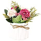 SUPNIU Artificial Hydrangea Bouquet with Ceramic Vase Fake Silk Variety Flower Balls Flowers Decoration forTable Home Party Office Wedding (White)