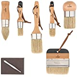 Pro 6 Chalked Brush Set for Artist - Waxing,Milk Paint, Brush Set - Premium Thick Natural Boar Bristles Hair - Furniture Paint Brushes - Sanding Pad & Bristle Remover Included - by LoGest