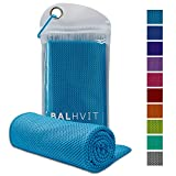 Balhvit Cooling Towel, Cool Towel for Instant Cooling Relief, Chilling Neck Wrap, Ice Cold Scarf for Men Women, Microfiber Bandana - Evaporative Chilly Towel for Yoga Golf Travel (Blue, 4012)