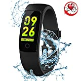 Blood Pressure Watch Fitness Tracker RIVERSONG Waterproof Color Screen Sport Smart Bracelet Band Activity Monitor with Heart Rate Calories Pedometer Sleeping Tracking Call/SMS Reminder for Smartphones