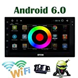 EinCar Android 6.0 Quad Core 7 Inch HD Touch Screen Car Stereo Double 2 Din Radio GPS Navigation System Support WiFi/USB/SD/SW-Control/Bluetooth with External Microphone/Backup Camera Included