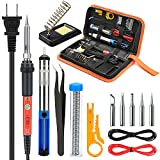 Soldering Iron Kit Electronics, Yome 14-in-1 60w Adjustable Temperature Soldering Iron with ON/OFF Switch, 5pcs Soldering Iron Tips, Desoldering Pump, Tweezers, Stand, Solder, PU Carry Bag