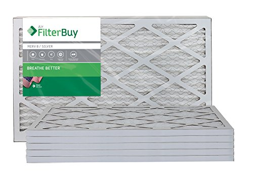 FilterBuy 16x25x1 MERV 8 Pleated AC Furnace Air Filter, (Pack of 6 Filters), 16x25x1 - Silver