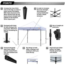ABCCANOPY-Pop-up-Canopy-Tent-Commercial-Instant-Shelter-with-Wheeled-Carry-Bag-Bonus-4-Canopy-Sand-Bags-10x10-FT-White