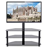 """Rfiver Corner Floor TV Stand with Swivel Mount for Most 32""""-65"""" LED, LCD, OLED and Plasma Flat or Curved Screen TVs, Height Adjustable 3-in-1 Entertainment Stand in Black, TW2002"""