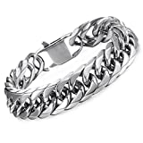 Hermah Heavy Mens Bracelet Chain 316L Stainless Steel Silver Punk Double Curb Cuban Rombo Link 15mm 8inch