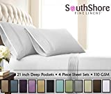 Southshore Fine Linens - 4 Piece - Extra Deep Pocket Pleated Sheet Set, Queen, Bright White