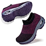 Womens Laceless Sneakers Nurse Shoes Lightweight Fashion Sport Shoes Casual Walking Athletic Non Slip Purple 6