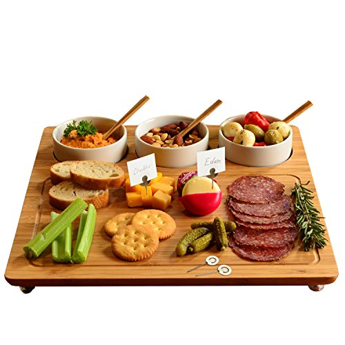 Picnic at Ascot Bamboo Cheese Board/ Charcuterie Platter with 3 Ceramic Bowls & Cheese Markers - 13