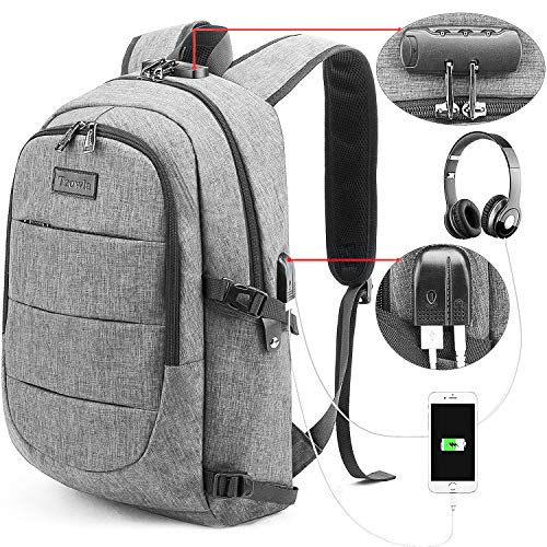 Tzowla Business Laptop Backpack Water Resistant Anti-Theft College Backpack with USB Charging Port and Lock 15.6 Inch Computer Backpacks for Women Men, Casual Hiking Travel Daypack (A-Grey)