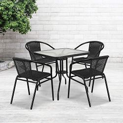 "Flash Furniture 28"" Square Glass Metal Table with Black Rattan Edging and 4 Black Rattan Stack Chairs"