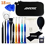 Johncase 18 Pcs Professional Precision Cell Phone Electronics Repair Tool Kit,Magnetic Screwdriver Driver Set W/Portable Case (Compatible) for Fix Mobile Devices,iPhone, iPad,Watch,Glasses,Tablet