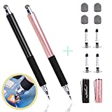 aibow Capacitive Stylus Pens for iPad, iPhone and Other Touch Screens [ Fine Point Disc Tip & Mesh Tip 2in1 Series ] with 4 Replaceable Disc Tips & 4 Replaceable Mesh Tips(Black/Rose Gold)