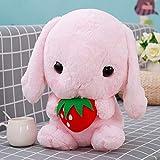 GOONEE Rabbit Stuffed Animal - Classical Soft Rabbit Stuffed Animal Bunny Plush Toy Rabbit Plush Pillow for Kids Friend Girls - 13 Inch Pink with Strawberry - Mrs Velvatine White Big Black