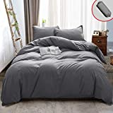 Vailge 3 Pieces Ultra Soft Duvet Cover Set with Zipper Closure, 100% 120gsm Microfiber Quality Premium Duvet Cover, Light Weight & Easy Care Bedding Duvet Cover (Grey,California King)