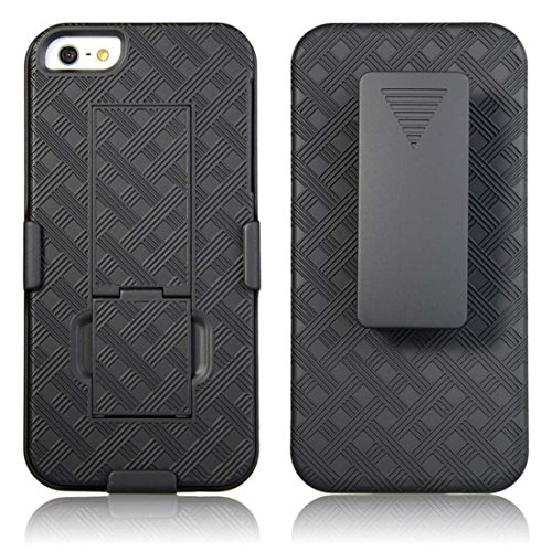 iPhone SE Case, iPhone 5s Case, iPhone 5 Case, Rome Tech OEM Protective Slim Cell Phone Case with Kickstand Clip Holster for Apple iPhone SE 5s 5 - Black