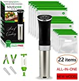 Sous Vide Cooker Immersion Circulator - Sous Vide Starter Kit - Sous Vide Pod 1000W, 15 Bags, Pump, Clips,  Free Cookbook