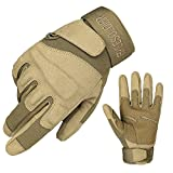 FREE SOLDIER Outdoor Men Non-Slip Cycling Hiking Gloves Full Finger Tactical Gloves (Sand, Large)