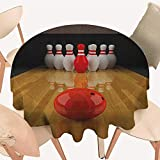 longbuyer Bowling Party Jacquard Tablecloth Alley with Red Skittle in Center Target Score Winning Competition Round Tablecloth D 36' Pale Brown Red White