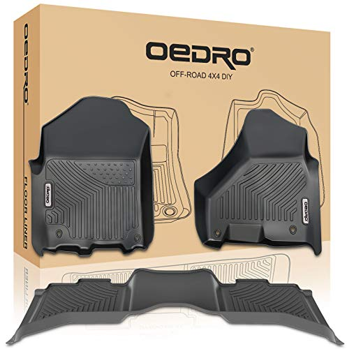 oEdRo Floor Mats Compatible for 2012-2018 Dodge Ram 1500/2500/3500 Crew Cab, Unique Black TPE All-Weather Guard Includes 1st and 2nd Row: Front, Rear, Full Set Liners
