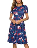 Simple Round Neck Floral Knee Length Dress for Women with, Floral2, Size Small