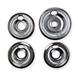 Chrome Drip Pans Replacement for Range Kleen 10124XZ Whirlpool W10196405 W10196406 1 Large 8' 3 Small 6'