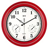 Large Outdoor Clock, 18 Inch Silent Wall Clock with Thermometer and Hygrometer Combo, Waterproof, Weather Resistant, Modern Decoration for Garden/Patio/Pool/Home (Metal, Empire Red)