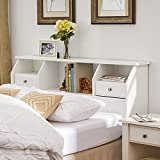 Product review for Headboard with Storage Queen / Full Size Bookcase Drawers Wood White Shelves Modern Bedroom Headboard