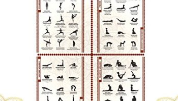 Yoga Asanas Poster Book Lllustrated Chart Of 60 Common Postures Positions