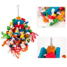 MEWTOGO-Large-Parrot-Toy-Multicolored-Wooden-Blocks-Tearing-Toys-for-Birds-Suggested-for-African-Grey-Cockatoos-and-a-Variety-of-Amazon-Parrots