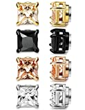 LOYALLOOK 4 Pairs Assorted Princess-cut CZ Magnetic Stud Earrings Non-Piercing Fake Plug 6MM Square