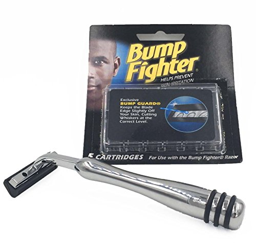 Taconic Shave's Heavyweight All-Metal Bump Fighter Compatible Razor with Rubber Grips and 5 Bump Fighter Blades - Designed to Reduce Shave Bumps and Skin Irriitation