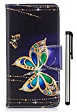 LG K7 Case,LG Tribute 5 Case,LG Escape 3 Case,LG Phoenix 2 Case,LG Treasure Case,LG K8 Case,LG K373 Case,LG M1 Case PU Leather Stand Wallet Credit Card Cash Slot Magnetic Gold Butterfly Not Fit 2017