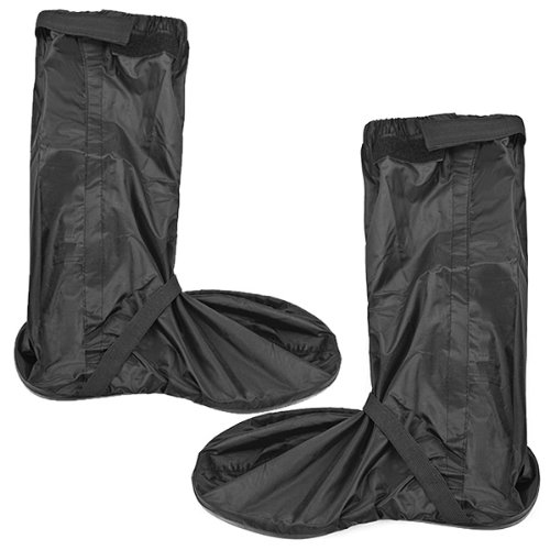 Double Sealed Zippered Riding Waterproof Motorcycle Biker Black Shoe Gear Rain Boot Cover + Glow Safety Reflector Fit US Size 8.5-9.5