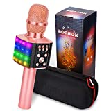 BONAOK Wireless Bluetooth Karaoke Microphone with controllable LED Lights, 4 in 1 Portable Karaoke Machine Speaker for Android/iPhone/PC (Rose Gold)