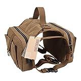 OneTigris Dog Pack Hound Travel Camping Hiking Backpack Saddle Bag Rucksack for Medium & Large Dog (Dog Pack - Cotton Canvas)