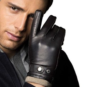 7d0d33a11 YISEVEN Men's Touchscreen Lambskin Winter Leather Gloves Cashmere Lined Fur  Lined Genuine Luxury and Hand Warm Heated Lining Driving Motorcycle Work  Gifts, ...