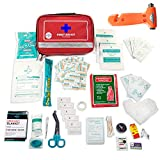 100 Piece Home First Aid Kit - Ultra Lightweight Compact First Aid Kit & Car First Aid Emergency Kit - Survival First Aid Kit for Camping, Hiking, Travel & Roadtrips - Gifts for New Car