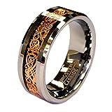 Rose Gold Celtic Dragon 8mm Tungsten Unisex Wedding Band Ring CJTU534-9