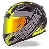 NENKI Full Face Motorcycle Helmets NK-856 DOT Approved with Iridium Red Visor and Inner Sun Shield,Fiberglass Shell(Matt Black & Yellow)